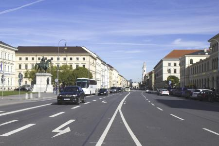 Ludwigstraße at Odeonsplatz direction to Siegestor