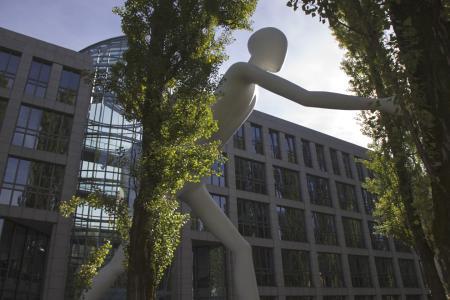 The Walking Man Statue is in Leopoldstraße
