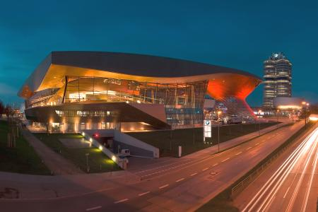 BMW world at night