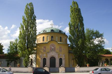 The main entrance of West Friedhof (cemetary) in Munich Mossach