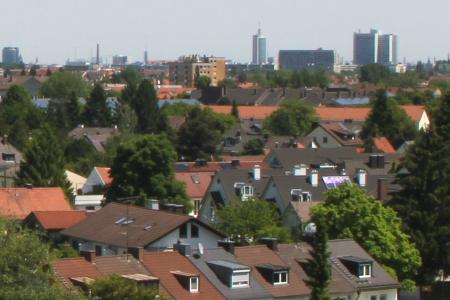 View over Munich Hadern, Heading East, from the 8th Floor
